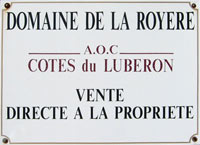 The plaque outside the domaine